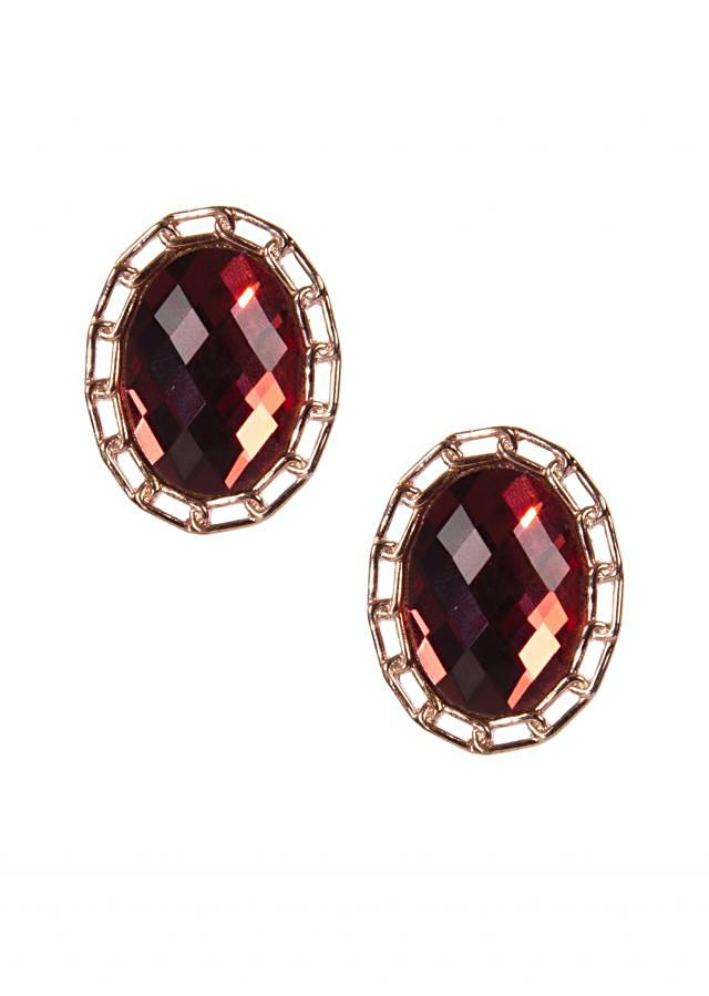 Maroon Jewel Studs only on Kalki