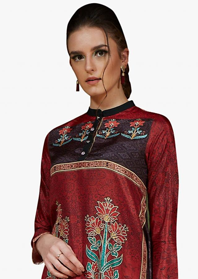 Maroon kurti in crepe silk with digital floral motif prints