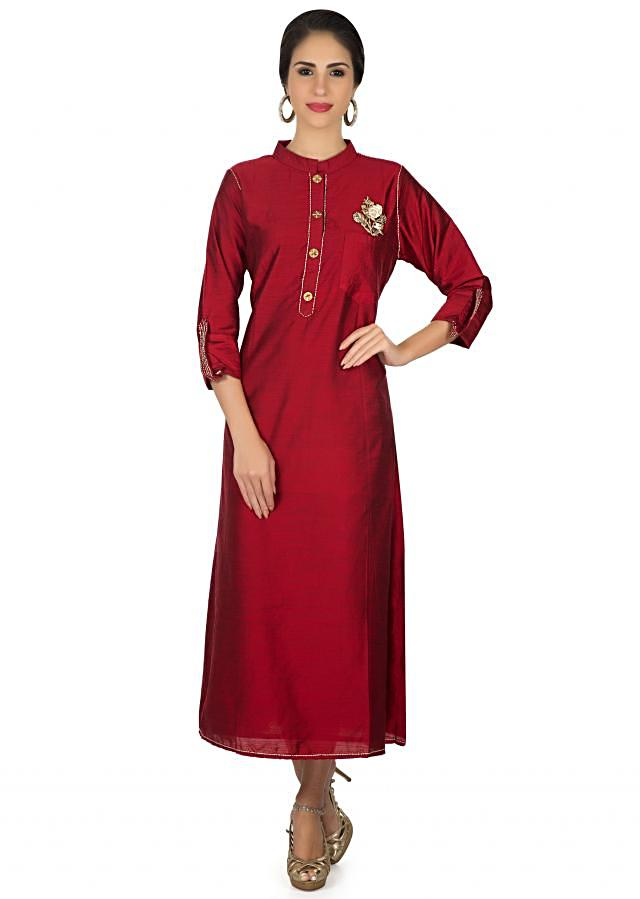 Maroon kurti in raw silk with resham embroidered patch only on Kalki