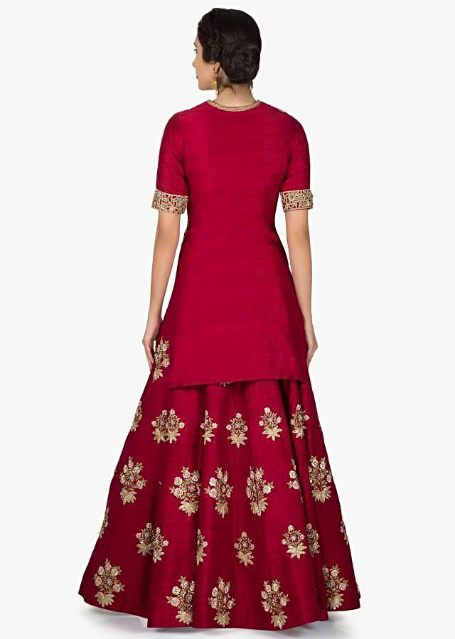 Maroon lehenga with long blouse in pita zari and resham embroidery only on Kalki