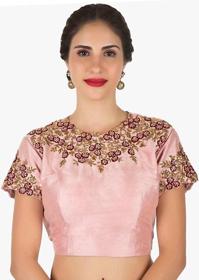 Maroon saree with ready blouse in pink embroidered with resham and sequin work only on Kalki