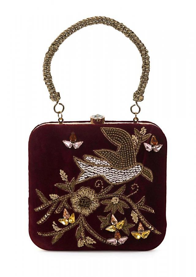 Maroon sequins and cutdana clutch in floral and bird motif