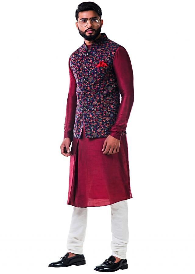 Maroon silk pleated kurta with a multicolour leaf  weave pashmina nehru jacket set only on Kalki
