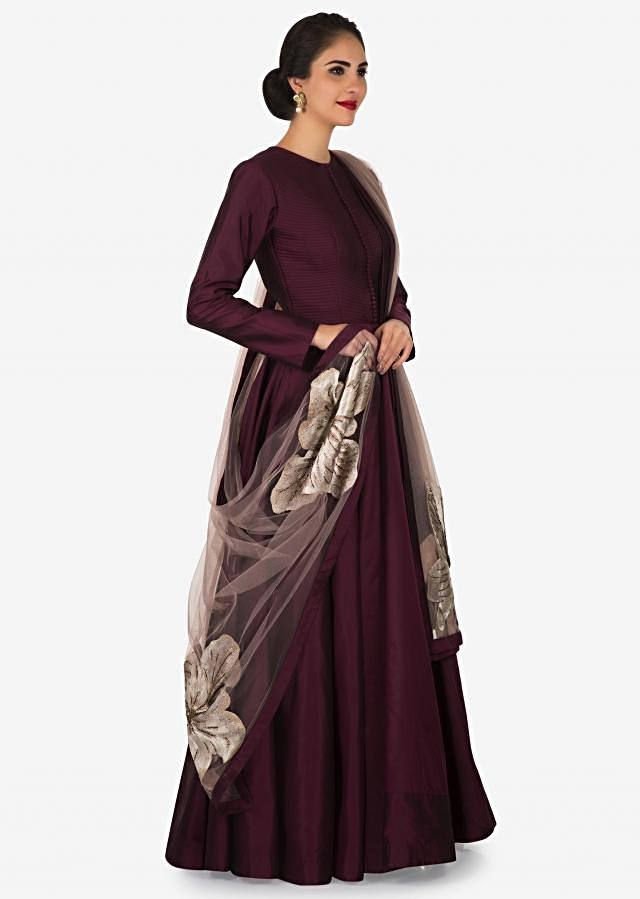 Maroon silk suit with beautiful floral motif dupatta only on Kalki