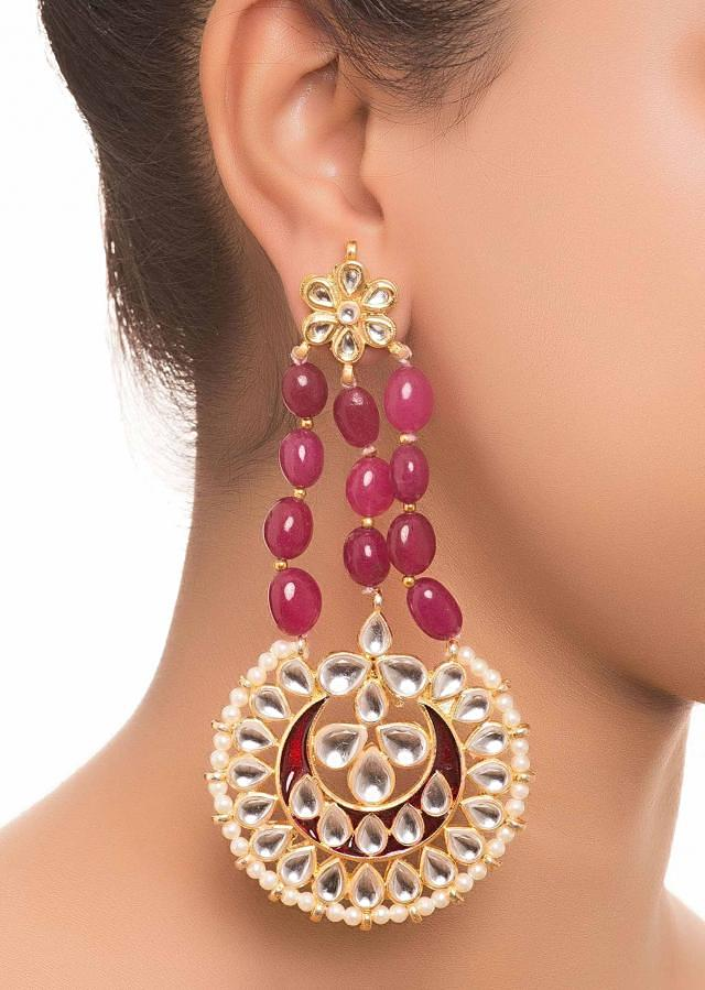 Maroon Stone And Kundan Earrings only on Kalki