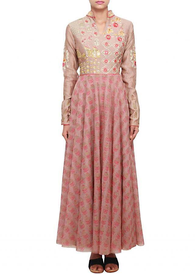 Mauve anarkali featuered in silk and net with chinese collar only on Kalki