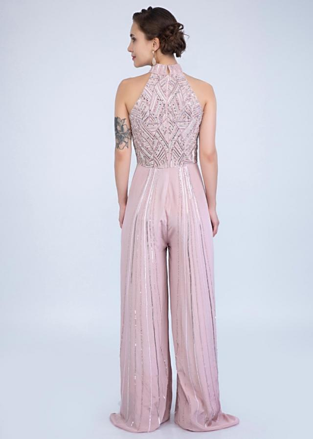 Mauve Pink Jumpsuit With Halter Neck And Embroidered Bodice Online - Kalki Fashion