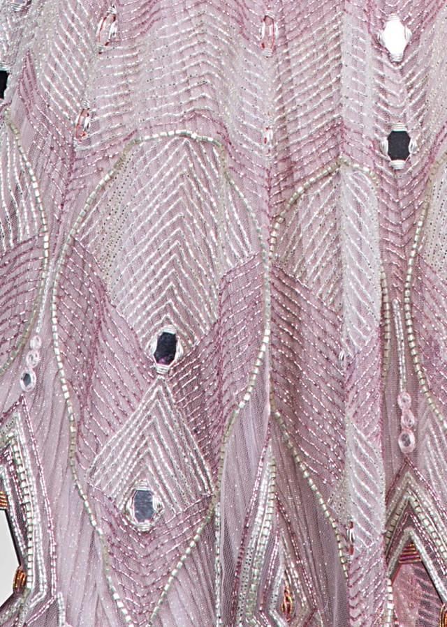 Mauve pink mirror embroidered flared net gown only on Kalki