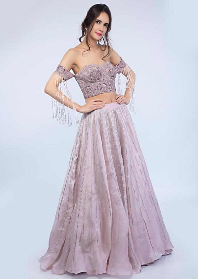 Mauve Pink Lehenga In Organza With Off Shoulder Corset Blouse Online - Kalki Fashion