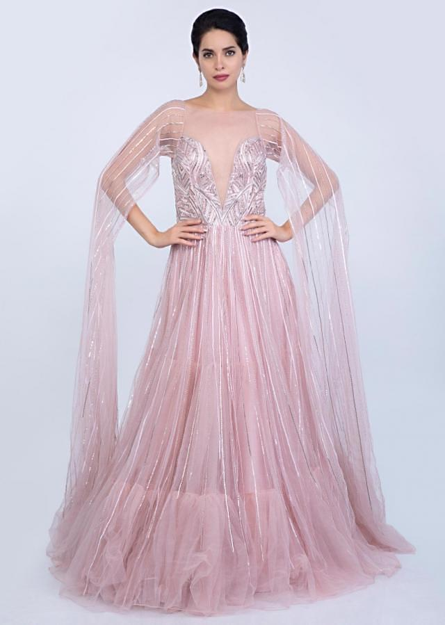 Mauve Pink Gown In Sheer Net With Long Extended Net Flared Sleeves Online - Kalki Fashion