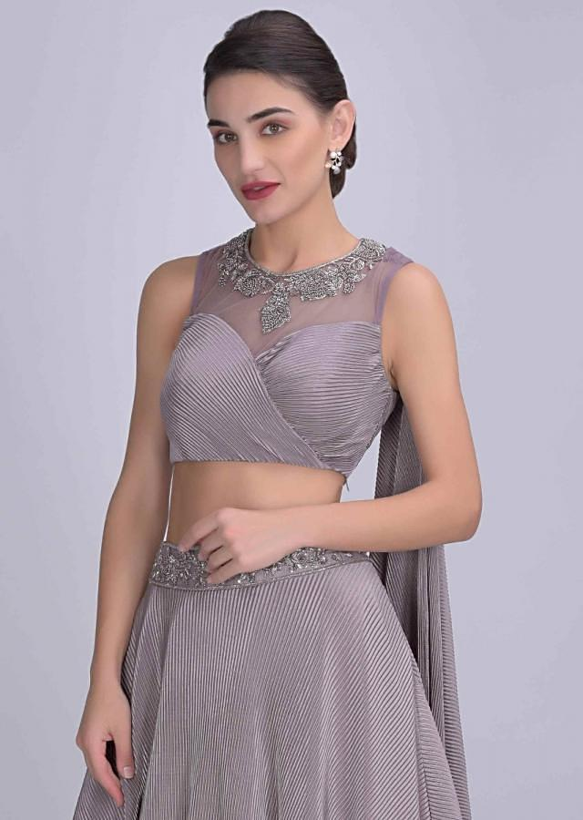 Mauve Layered Skirt In Pleated Lycra With Organza Under Layer And Matching Crop Top Online - Kalki Fashion