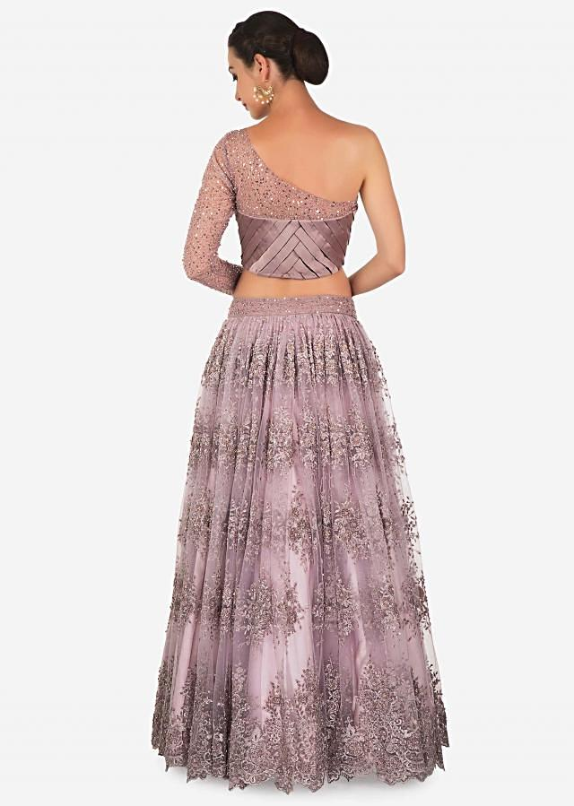 Mauve Satin and Net Lehenga Blouse Set Featuring Embroidered Net Only on Kalki
