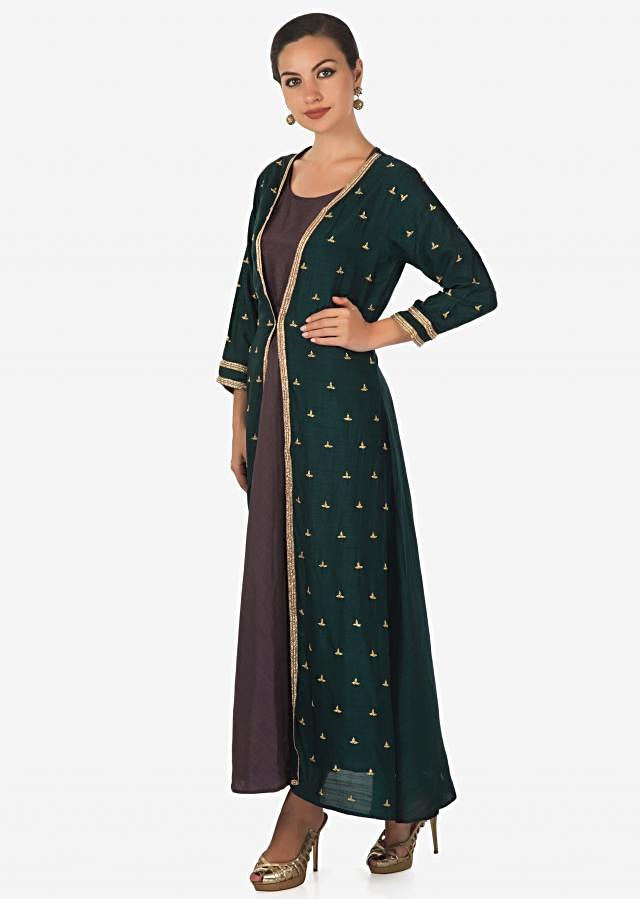Mauve kurti matched with teal green cut dana embroidered jacket only on Kalki