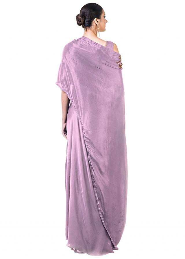 Mauve Draped Gown with a Hand Embroidered Cape Dupatta