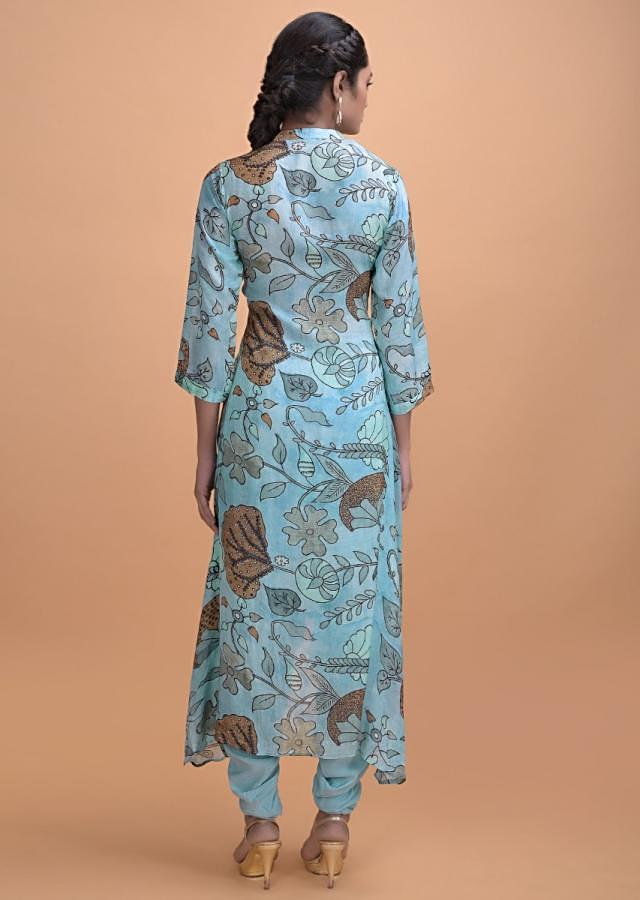Maya Blue Dhoti Suit In Cotton Blend With Nature Inspired Print Online - Kalki Fashion
