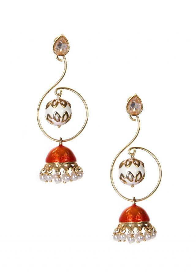 Meenakari Jhumkas With Pearl Danglings only on Kalki