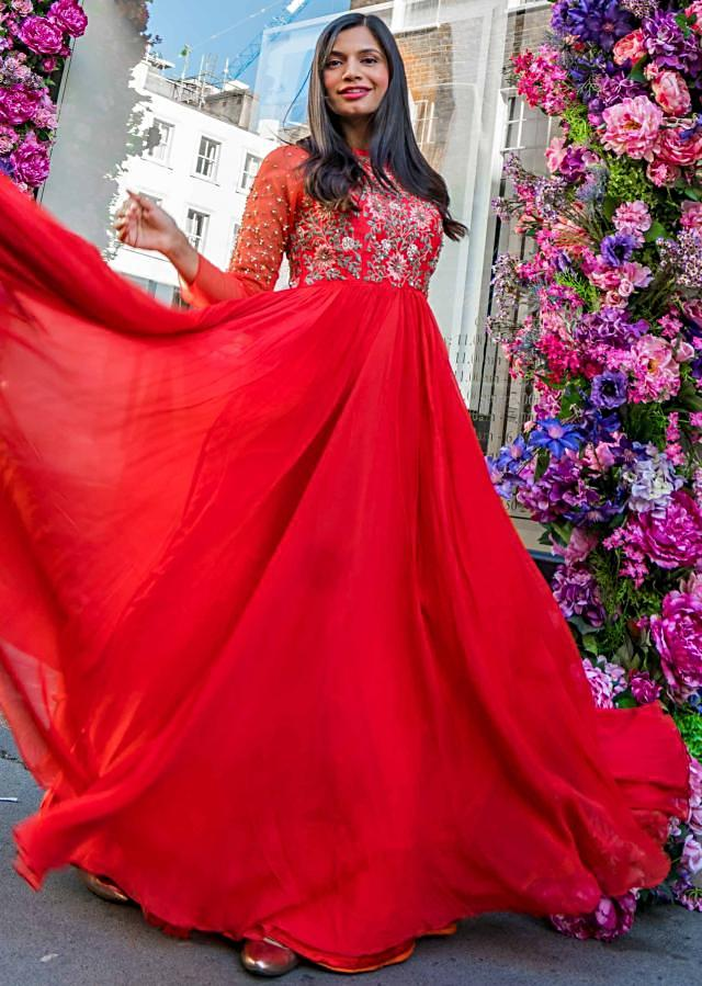 Megha Bajaj in Kalki red embroidered anarkali dress.