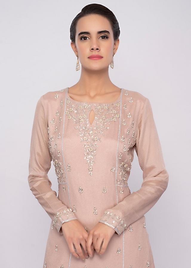 Mellienal Pink Sharara Suit Set In Embroidery And Butti Online - Kalki Fashion
