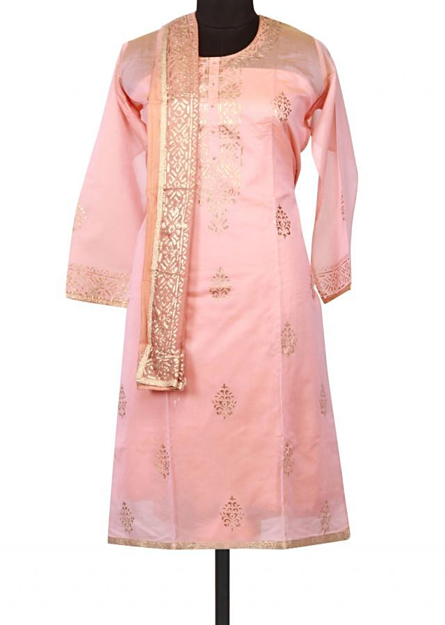 Mellow pink semi stitched suit featuring in embossed foil print