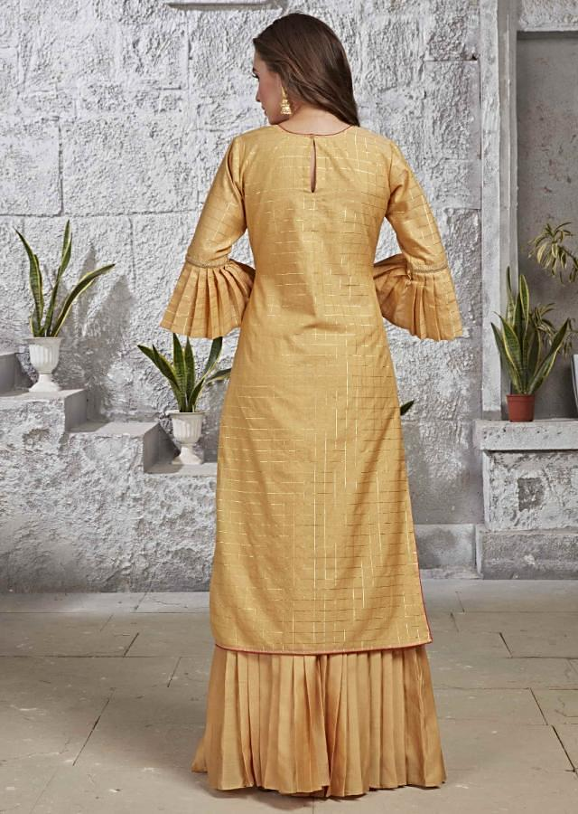 Mellow Yellow Suit With Pleated Sharara Bottoms In Silk Online - Kalki Fashion
