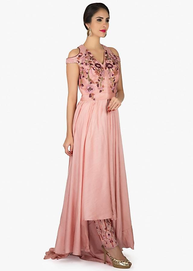 Mellow pink suit with front short and back long in resham embroidery only on Kalki