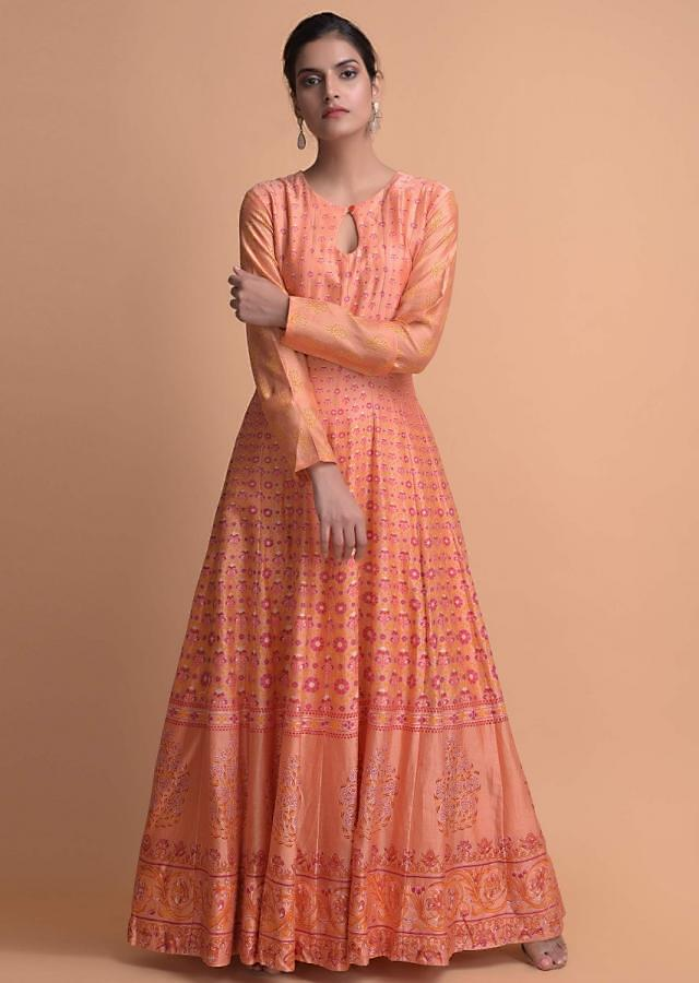 Melon Orange Anarkali Suit In Cotton Beautified With Floral Pattern Online - Kalki Fashion