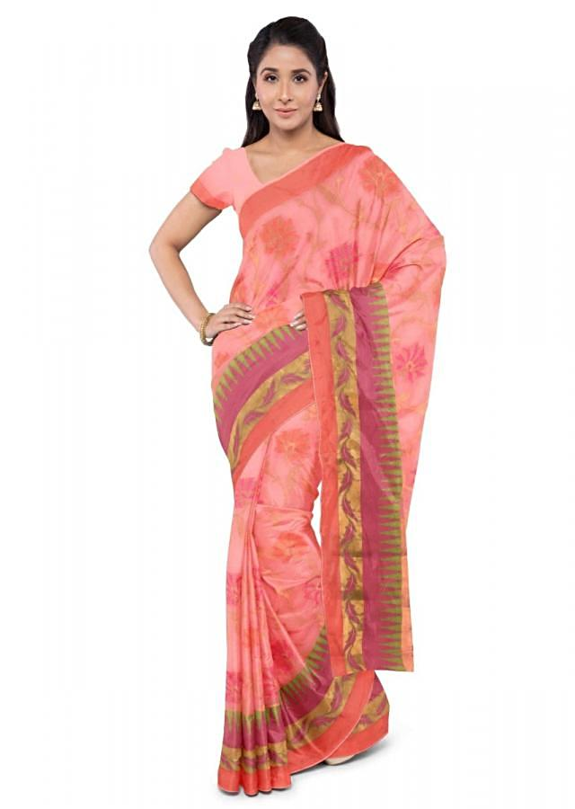 Melon Orange Banarasi Saree In Chanderi Silk With Matching Blouse Piece Online - Kalki Fashion