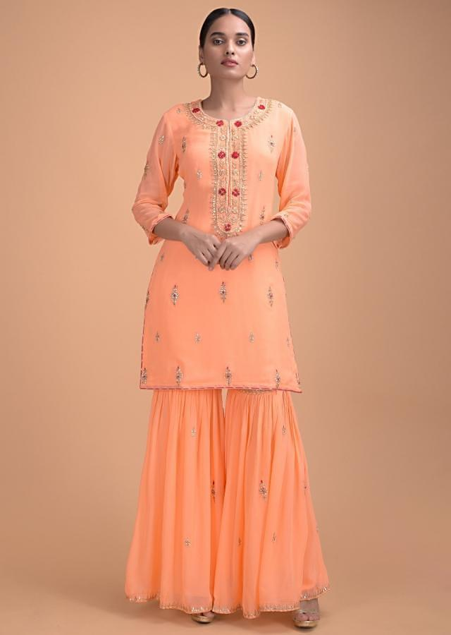 Melon Peach Sharara Suit In Georgette With Gotta Patch Work And Red Net Dupatta Online - Kalki Fashion