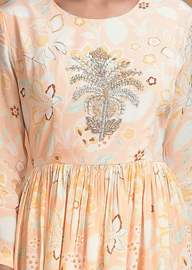 Melon Peach Tunic Dress In Crepe With Floral Print And Embroidered Floral Motif Online - Kalki Fashion