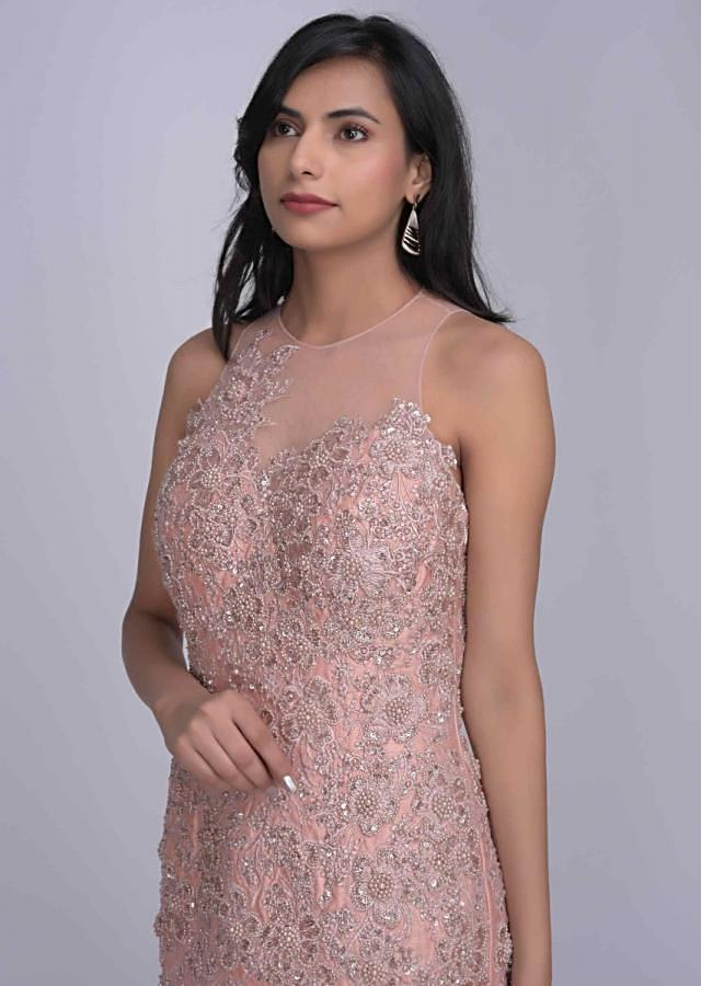 Mermaid cut blush pink ethnic gown in organza and embroidered raw silk only on Kalki