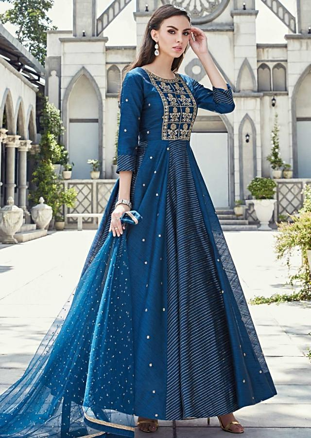 Mid Night Blue Anarkali Suit In Silk With Embroidered Bodice Online - Kalki Fashion