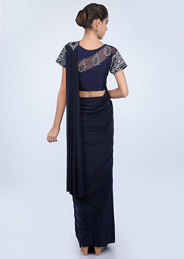Mid night blue lycra saree with stitched pleats and draped pallo only on kalki