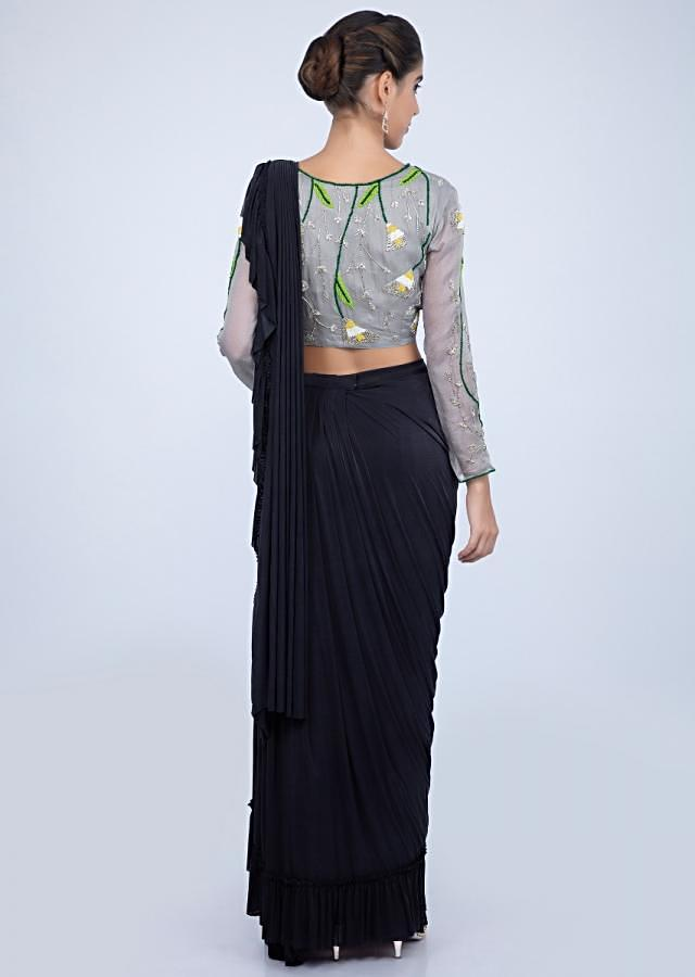 Mid night blue ready pleated lycra saree with applique work only on kalki