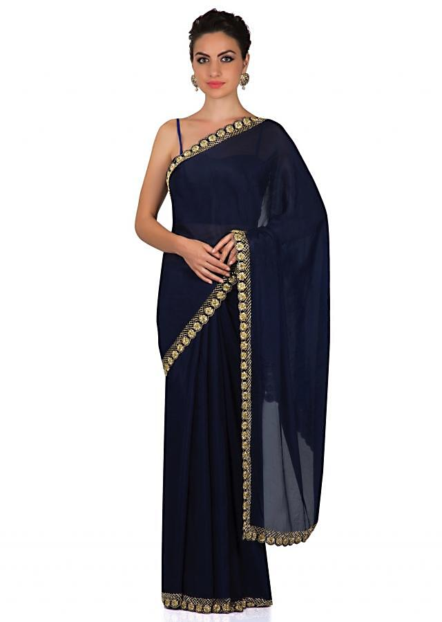 Mid night blue saree with cut dana embroidered border only on Kalki