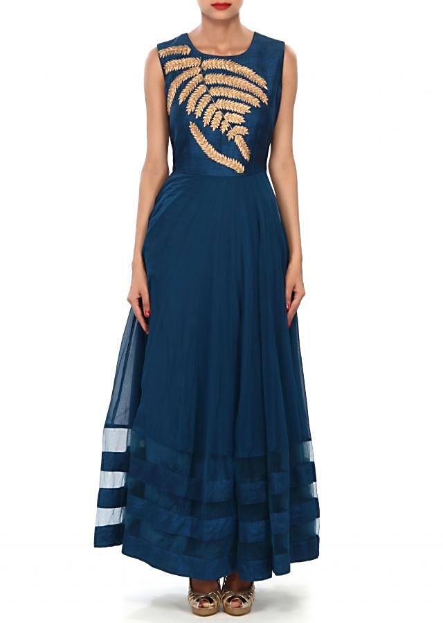 Mid night blue suit featuring in zari embroidery only on Kalki