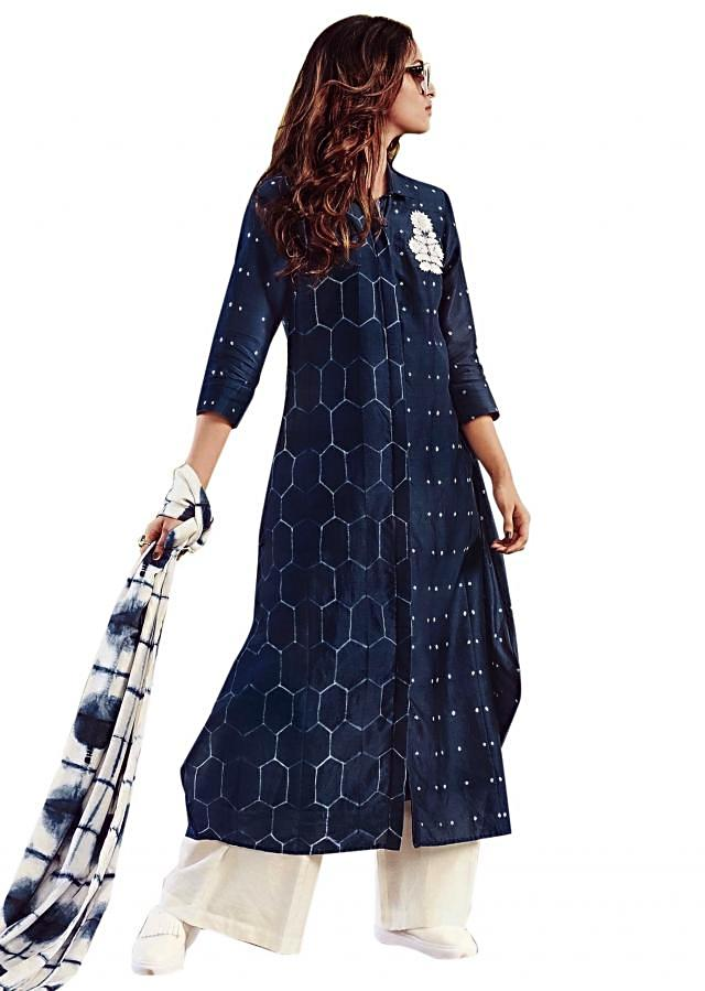 Mid night blue suit in thread embroidered butti