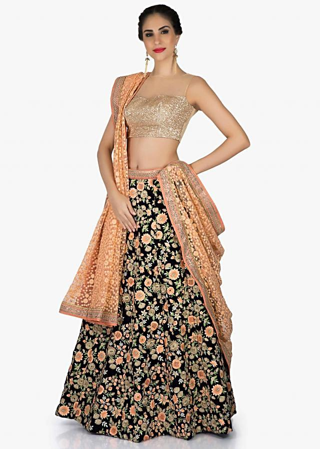 Mid night blue lehenga in floral resham work with contrast blouse  only on Kalki