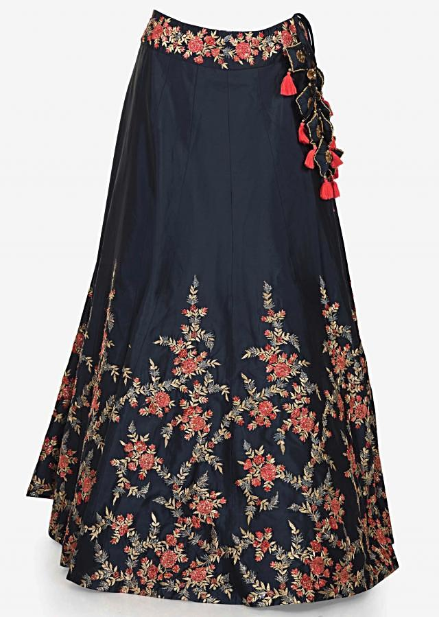 Mid night blue lehenga in resham embroidery with cold shoulder blouse only on Kalki