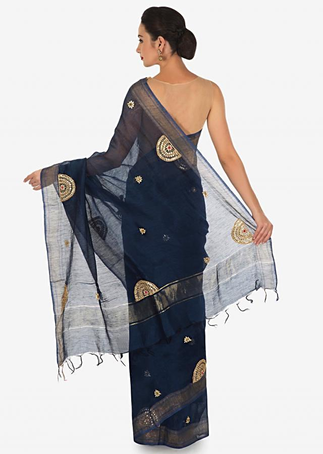 Mid night blue saree in silk with gotta patch half circle embroidered butti only on Kalki