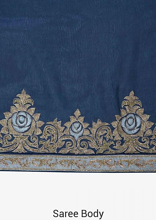 Mid night blue saree in cotton silk with resham and pita zari embroidery only on Kalki
