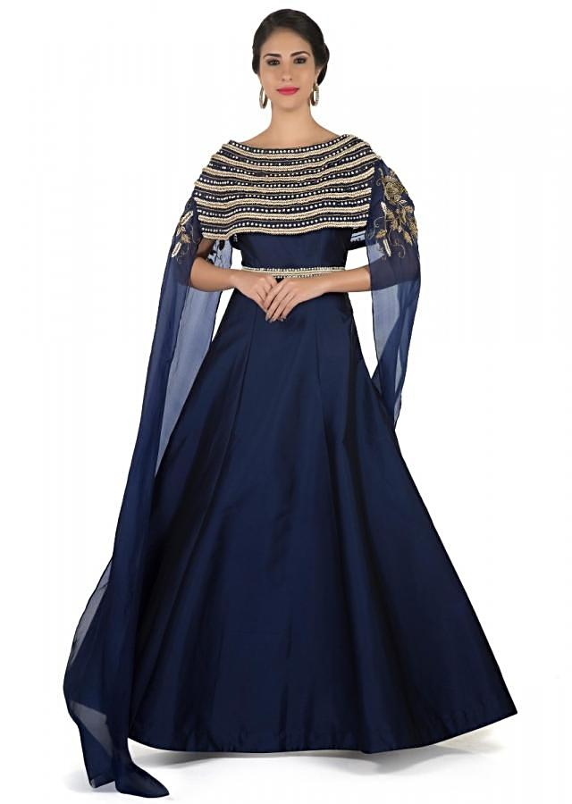 Mid night blue suit features with pearl and zardosi embroidered cape only on Kalki