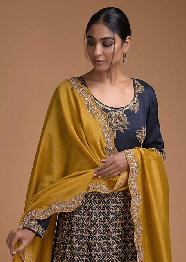 Midnight Blue Anarkali Suit With Contrasting Sun Yellow Dupatta With Zardozi Work Online - Kalki Fashion