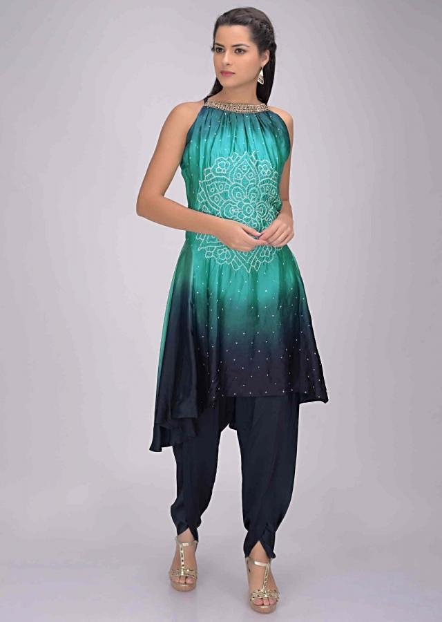 Midnight Blue And Turq Kurti In Shaded Satin Crepe And Dhoti Set Online - Kalki Fashion