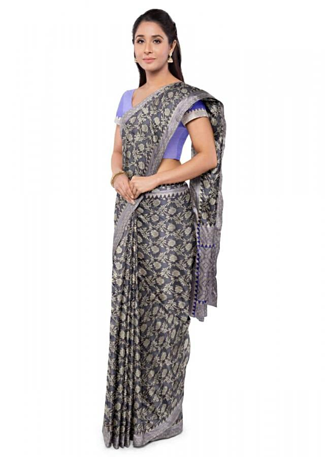 Midnight Blue Chiffon Banarasi Saree With Floral Jaal Work And Royal Blue Blouse Piece Online - Kalki Fashion