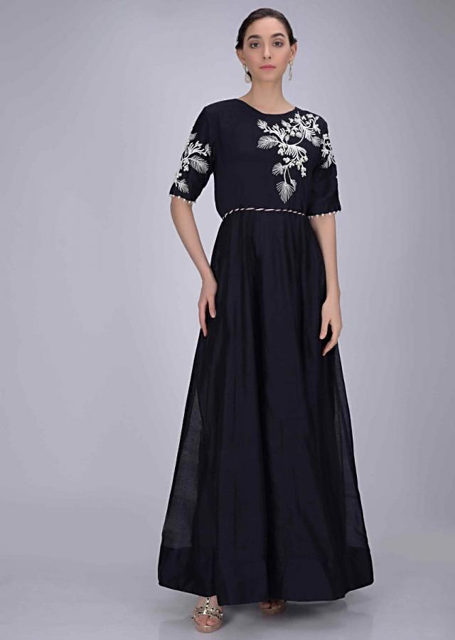 Midnight Blue Suit In Cotton With Leaf And Floral Embroidery On The Bodice And Sleeves Online - Kalki Fashion