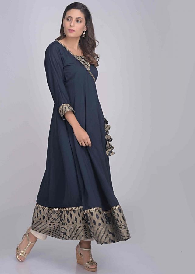 Midnight Blue Angrakha Suit Set In Cotton With A Wrap Around Pattern Online - Kalki Fashion