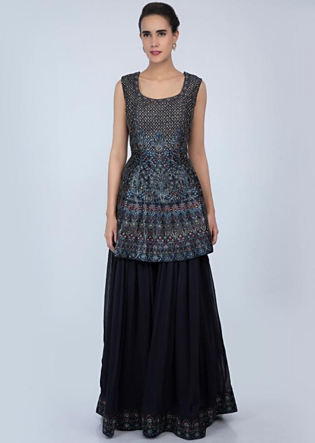 Midnight blue digital printed raw silk suit with matching palazzo only on Kalki