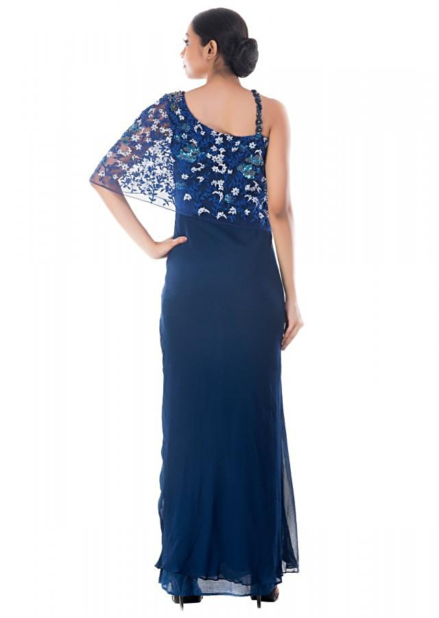 Midnight Blue Gown With Embroidery Work Online - Kalki Fashion