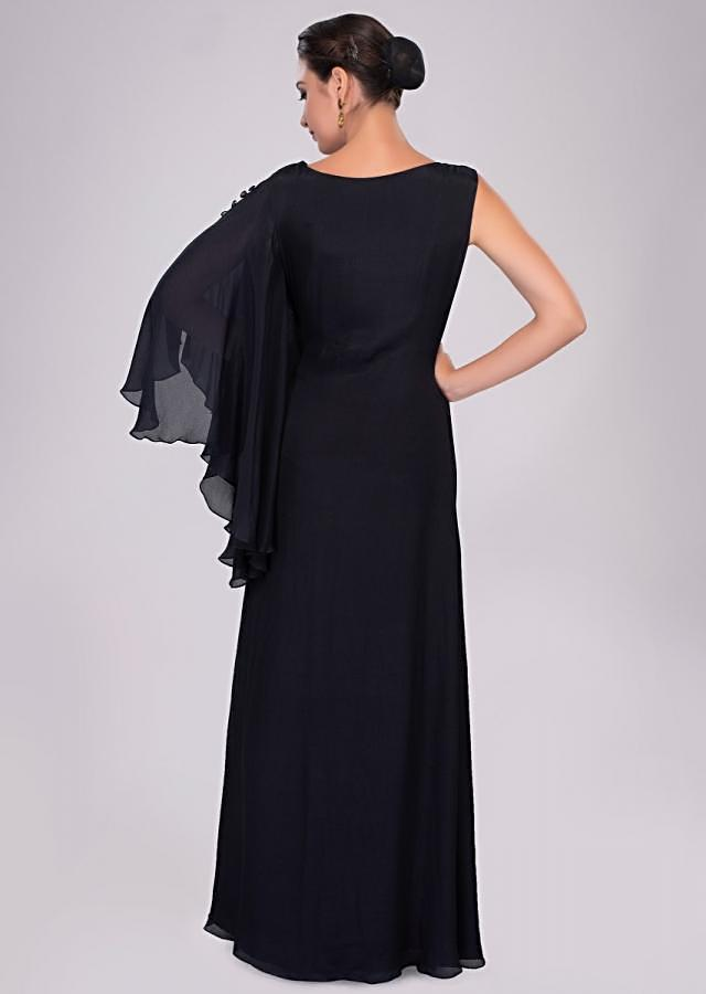 Midnight Blue Dress In Georgette Enhanced With An Additional Top Layer Online - Kalki Fashion