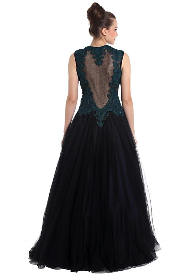 Midnight blue net gown adorned with stones and resham work only on Kalki